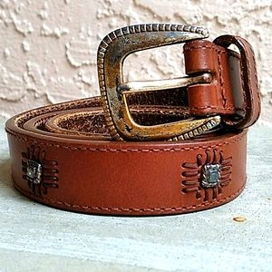 FOSSIL WOMEN'S BROWN STUDDED GENUINE LEATHER BELT